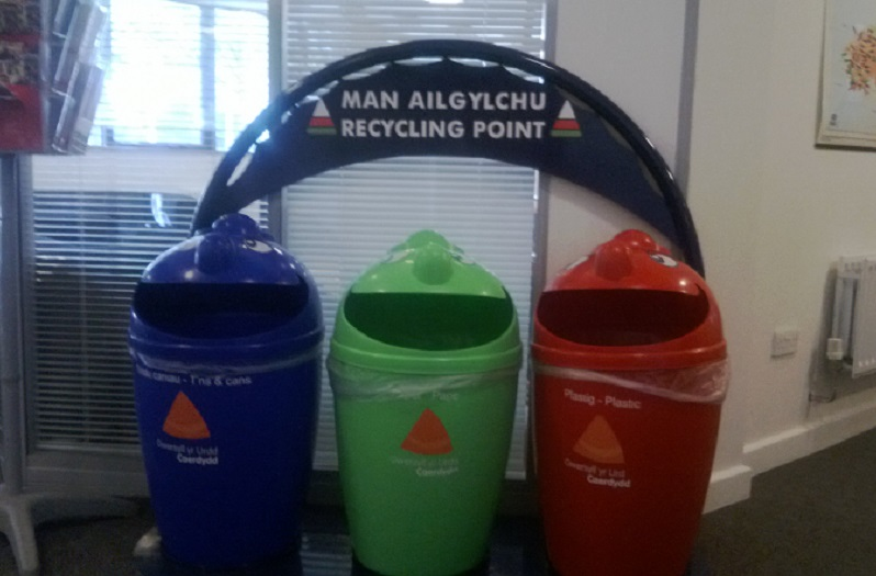 school indoor recyc;ling bins